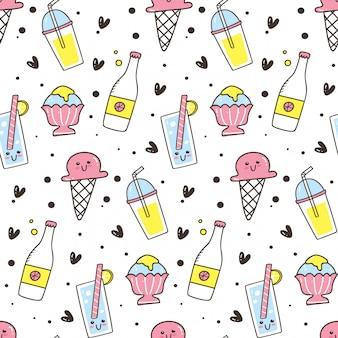 アイスクリームとかわいいのシームレスな背景