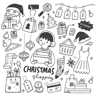 クリスマスセールの落書きのセット