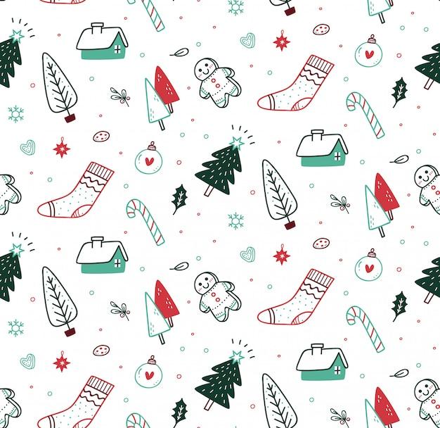 落書きスタイルでかわいいクリスマスのシームレスパターン