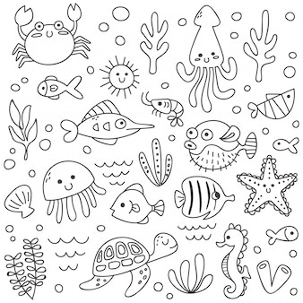 落書きスタイルでかわいい海の動物のセット