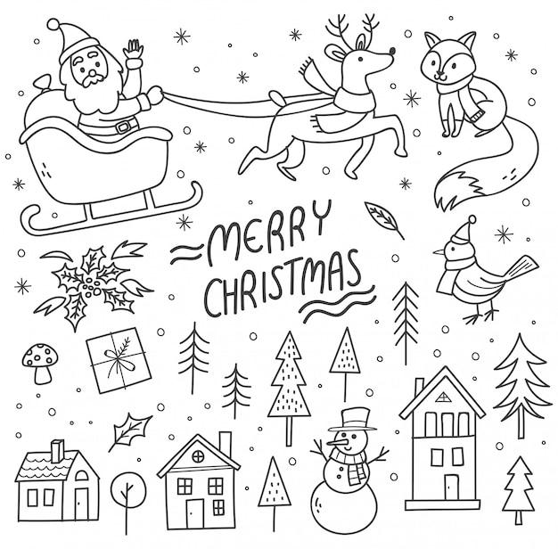 Набор милых рождественских рисунков