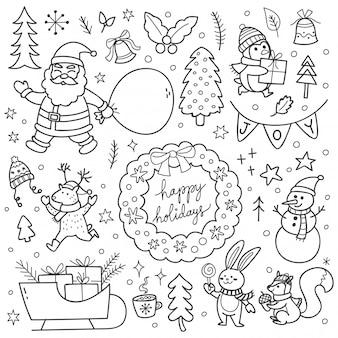 かわいいクリスマスの落書きのセット