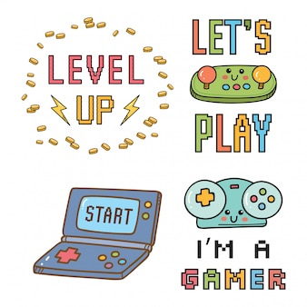 Видеоигры тематический дизайн и надписи. я геймер
