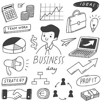 ビジネスの手描き落書きのセット
