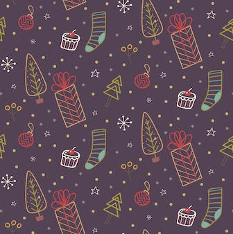Рождество каракули бесшовные