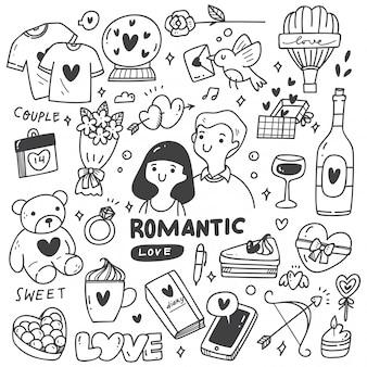 かわいい落書きとロマンチックなカップル