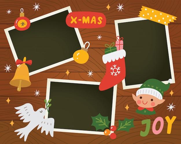 写真テンプレート付きのクリスマススクラップブック