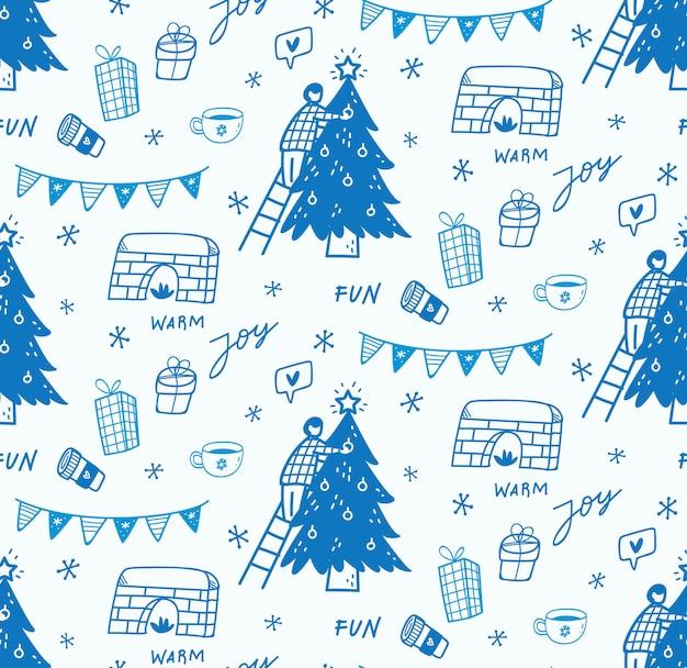 Рождественский бесшовный фон в стиле каракули