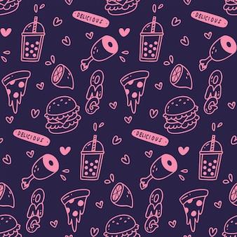 さまざまなかわいい食べ物や飲み物のシームレスパターン