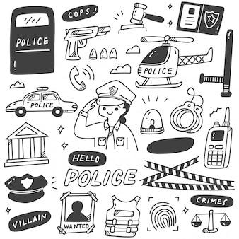 かわいい警察の女性と関連オブジェクト