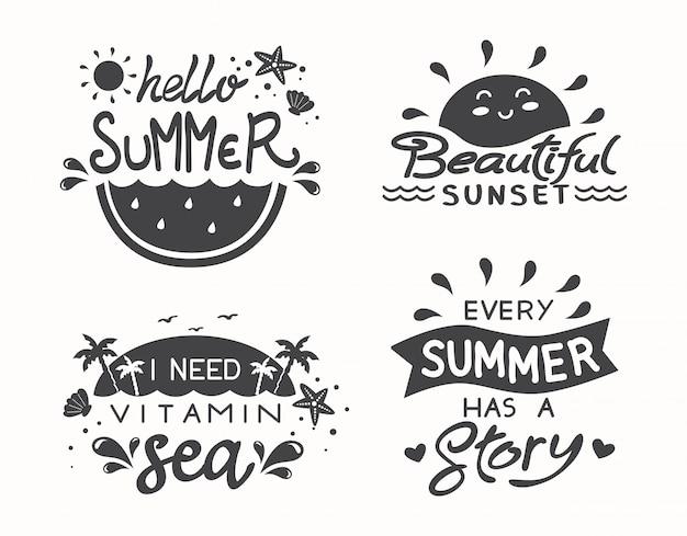 夏の手描きの引用
