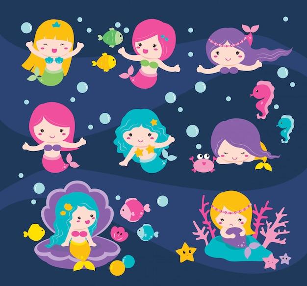 Набор милых мультипликационных русалок