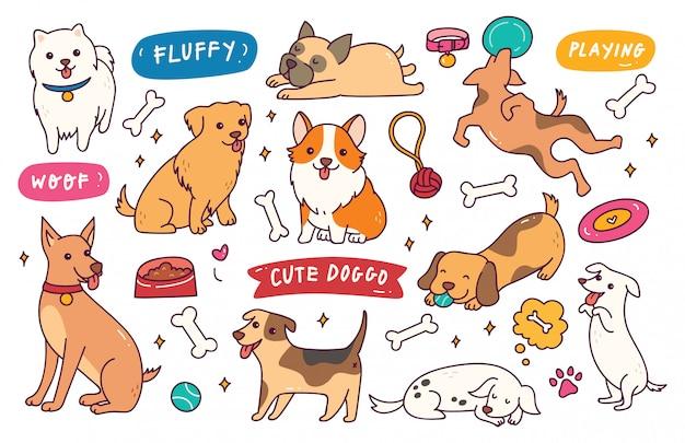 Коллекция рисованной каракули позы собаки