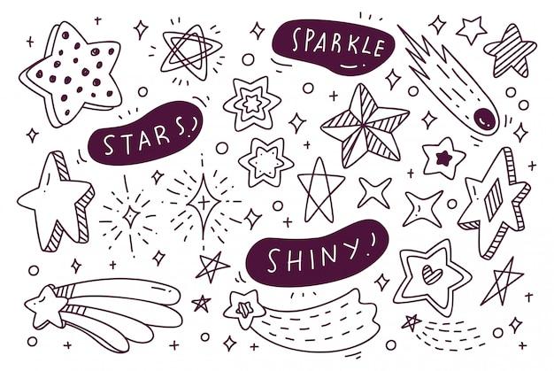 手描き星のいたずら書きのセット