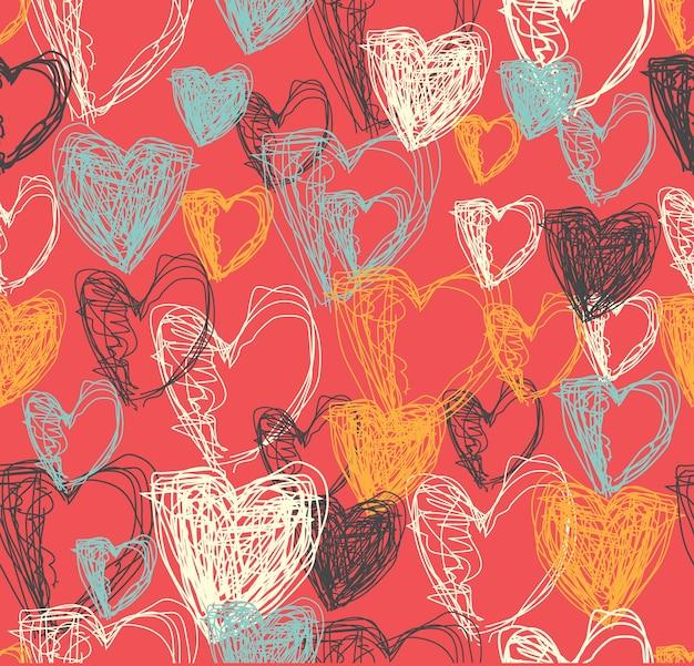 Абстрактные сердца каракули