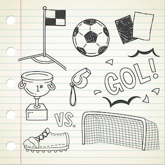 サッカーの落書きのセット