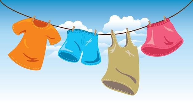 洗濯ライン上の服