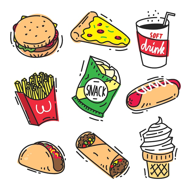 Набор фаст-фуд значок каракули, изолированных на белом фоне с гамбургер, пицца, безалкогольные напитки,