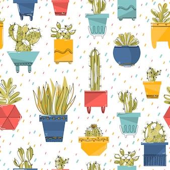 Бесшовный фон с сочными и кактусами в разноцветных горшках.