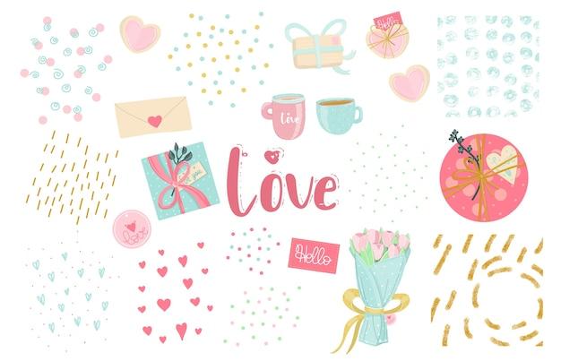 愛の要素。テクスチャのアイデアを持つロマンチックなセット。バレンタインデー、結婚式、または最初の日