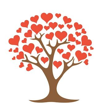 Дерево с сердцем на белом фоне