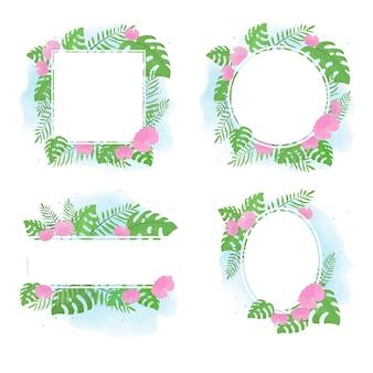 Рамка стиля лета тропического цветка плоская