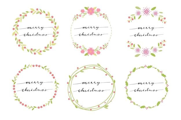 手書き書道メリークリスマスと最小の花輪
