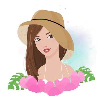 美しい女性の水彩夏ファッションイラストのピンクのハイビスカスの花と太陽の帽子の肖像画を着用します。