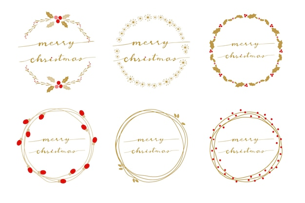 手書きの書道のメリークリスマスと黄金の花輪