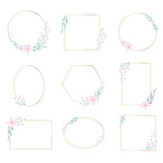 装飾的な水彩画の花と幾何学的なゴールデンフレーム