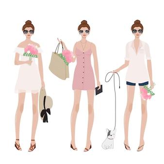 夏の女性がパーティーのための衣装をドレスします。