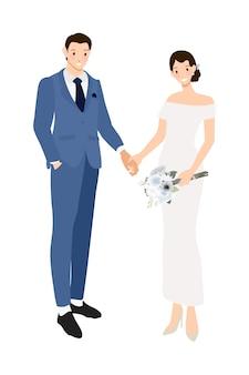 結婚式のカップルはネイビーブルーのスーツとドレスのフラットスタイルで手をつないで