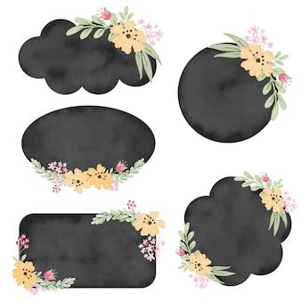 花のコレクションとビンテージ水彩黒バッジラベル