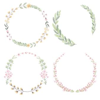 Акварельная коллекция цветов и листьев венок