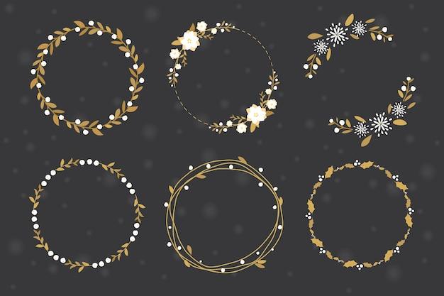 ゴールデンクリスマスの花輪フレームのコレクションフラットスタイル