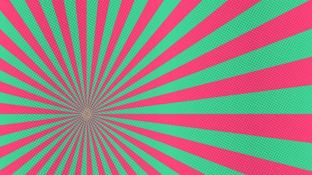 Красные и зеленые солнечные координаты фон с полутонов мультяшном стиле комиксов
