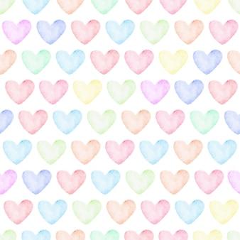 レインボーパステル水彩心シームレスパターン