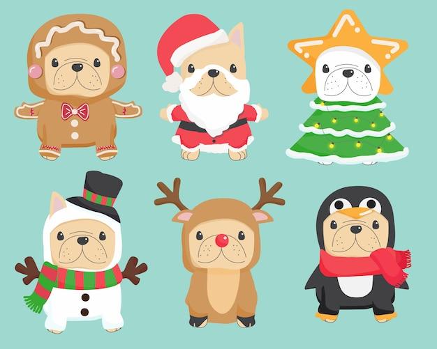 Симпатичные смешные рождественские косплей французский бульдог щенок коллекция иллюстраций