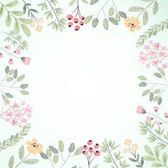 Акварель ботаническая цветочная рамка с копией пространства иллюстрации