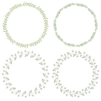 水彩の最小限の葉の花輪コレクション