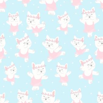 青の背景にピンクのドレスのシームレスなパターンでかわいいフレンチブルドッグバレリーナダンス