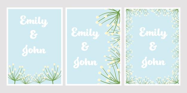 Симпатичный плоский стиль одуванчика на синий цвет для свадебного приглашения карты шаблона