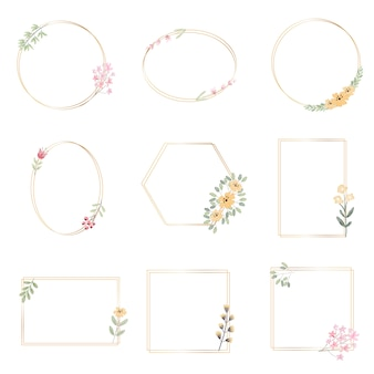 Акварель ботанический ручной рисунок листьев венок с крошечными розовыми и желтыми цветами золотая коллекция