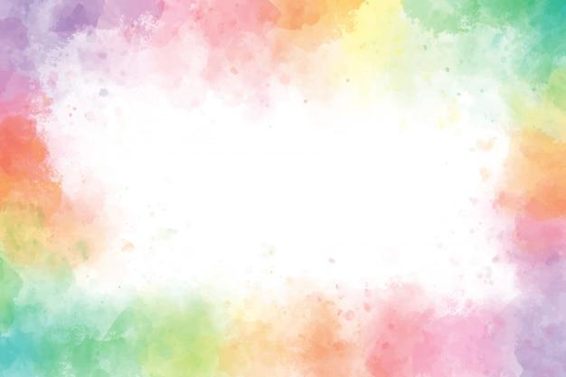 カラフルなレインボー水彩スプラッシュ背景フレーム