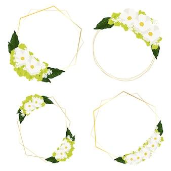 ゴールデンフレームリースと白いコスモスと緑のアジサイの花の花束