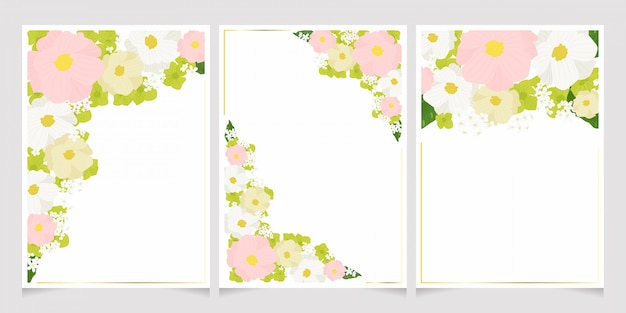 カラフルなパステルコスモスとゴールデンフレームフレームカードテンプレートセットと緑のアジサイの花