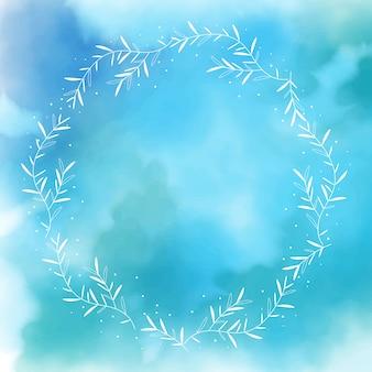 白い花輪フレームと青い水彩スプラッシュバックグラウンド