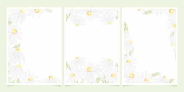 水彩の白いデイジー結婚式招待状カードテンプレートコレクションイラスト