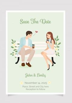 Симпатичные молодые свадьба пара цель во время утреннего кофе. свадебные приглашения