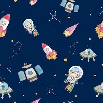 かわいい子供漫画スタイルの銀河宇宙飛行士のシームレスパターン